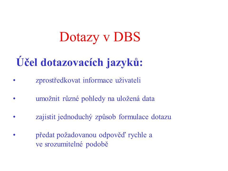 Dotazy v DBS Účel dotazovacích jazyků: