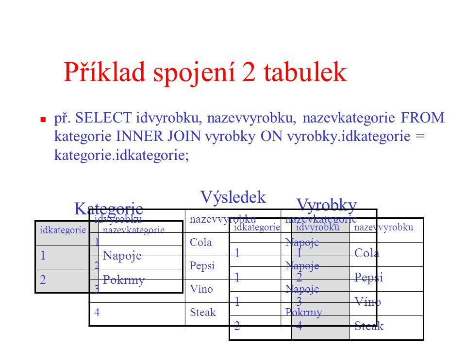 Příklad spojení 2 tabulek