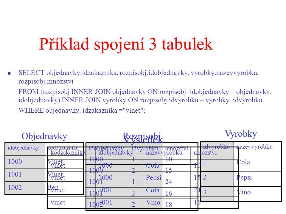 Příklad spojení 3 tabulek