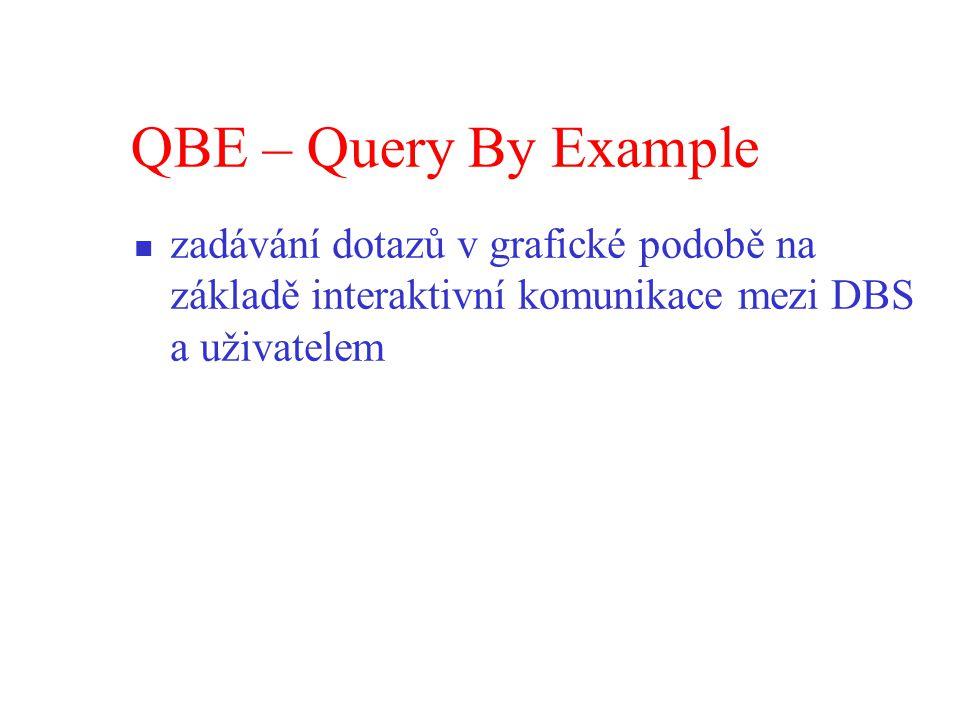 QBE – Query By Example zadávání dotazů v grafické podobě na základě interaktivní komunikace mezi DBS a uživatelem.