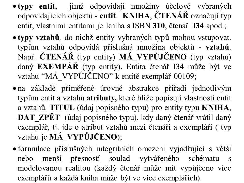 typy entit, jimž odpovídají množiny účelově vybraných odpovídajících objektů - entit. KNIHA, ČTENÁŘ označují typ entit, vlastními entitami je kniha s ISBN 310, čtenář I34 apod.;