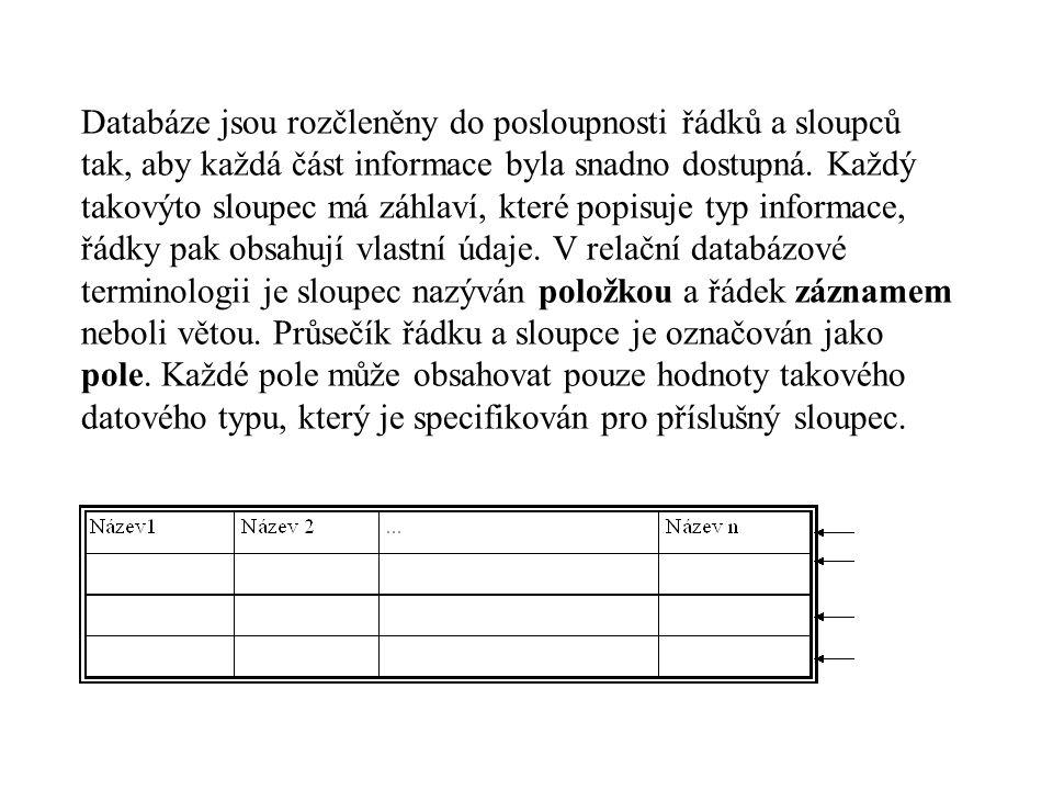 Databáze jsou rozčleněny do posloupnosti řádků a sloupců tak, aby každá část informace byla snadno dostupná.
