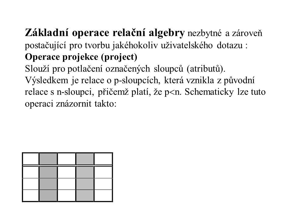 Základní operace relační algebry nezbytné a zároveň postačující pro tvorbu jakéhokoliv uživatelského dotazu : Operace projekce (project) Slouží pro potlačení označených sloupců (atributů).