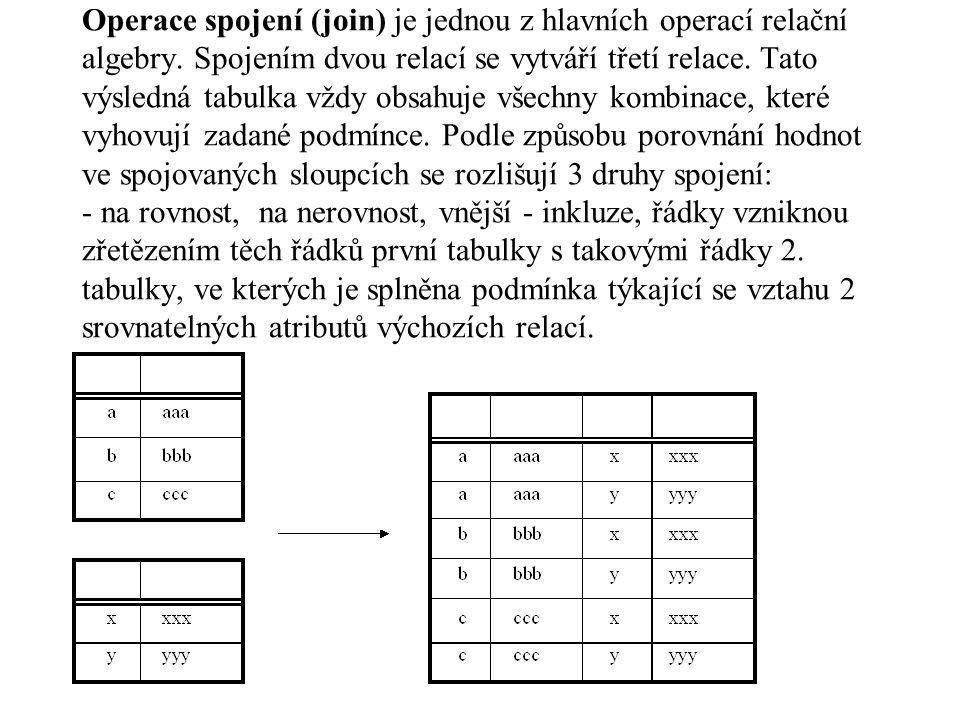 Operace spojení (join) je jednou z hlavních operací relační algebry