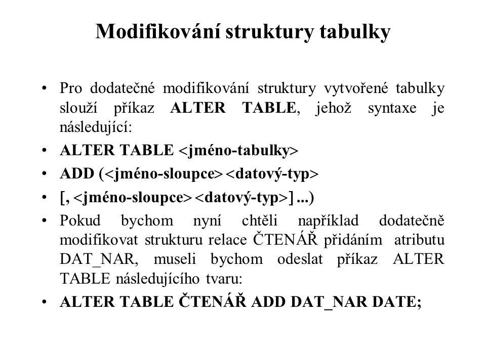 Modifikování struktury tabulky