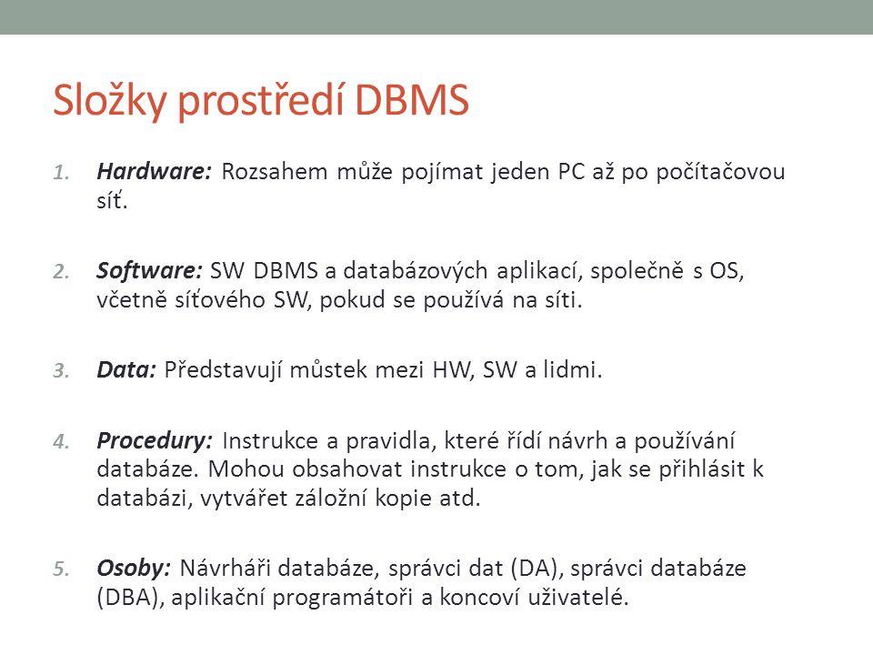 Složky prostředí DBMS Hardware: Rozsahem může pojímat jeden PC až po počítačovou síť.