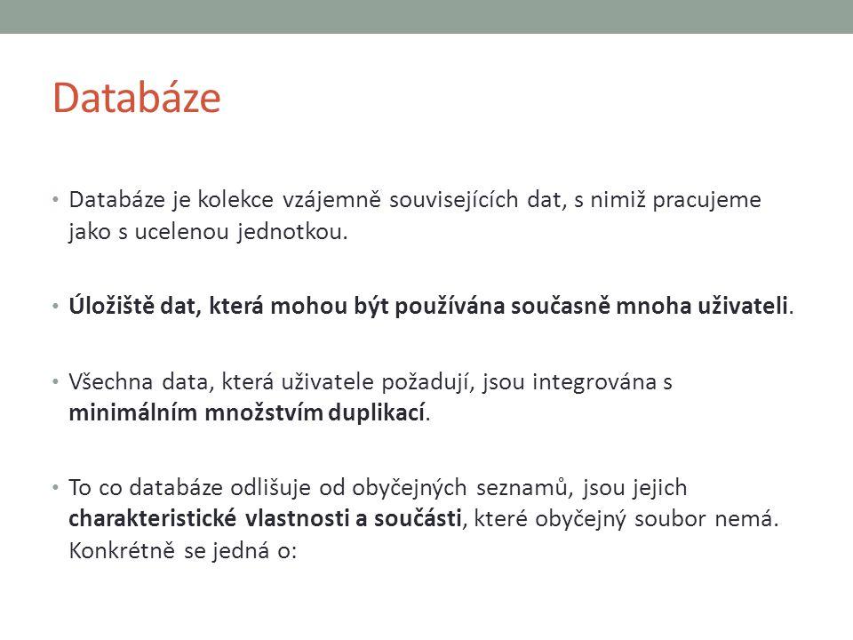 Databáze Databáze je kolekce vzájemně souvisejících dat, s nimiž pracujeme jako s ucelenou jednotkou.