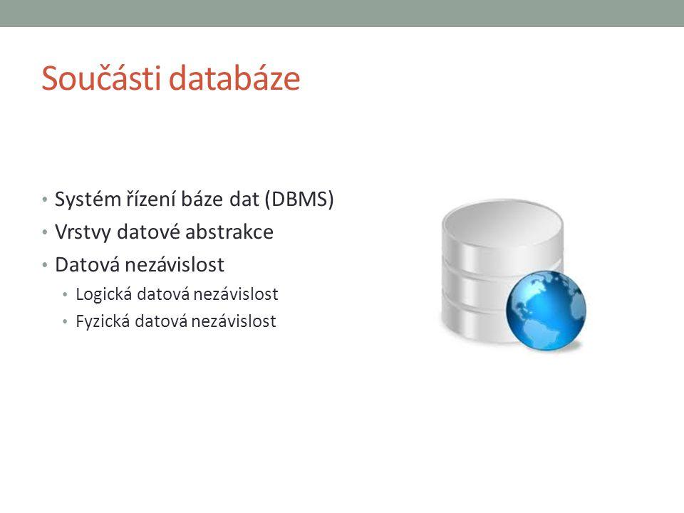 Součásti databáze Systém řízení báze dat (DBMS)