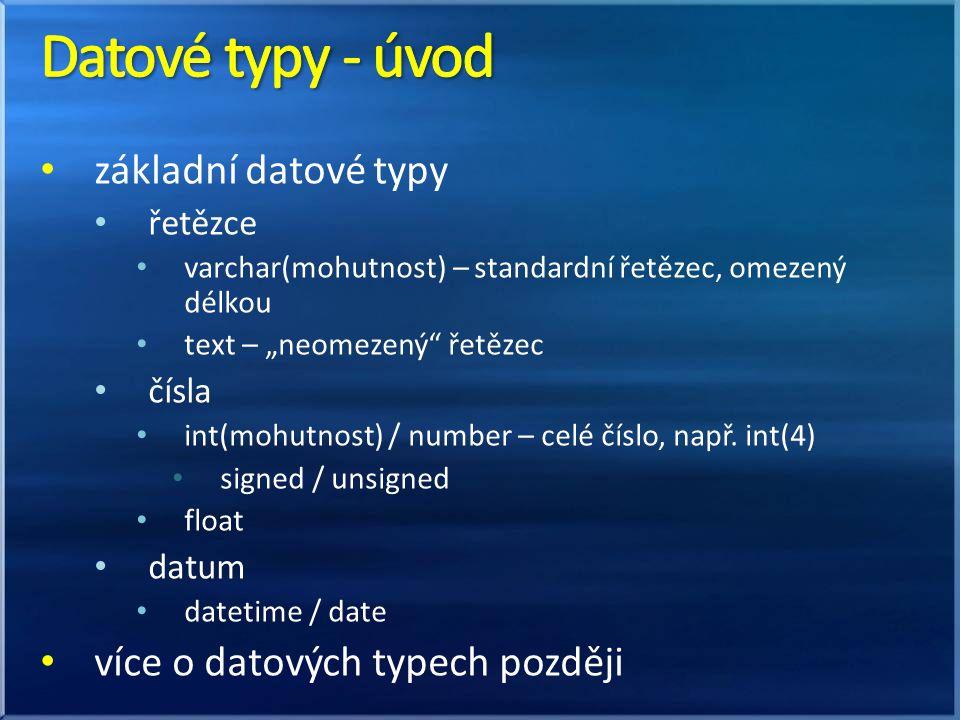 Datové typy - úvod základní datové typy více o datových typech později