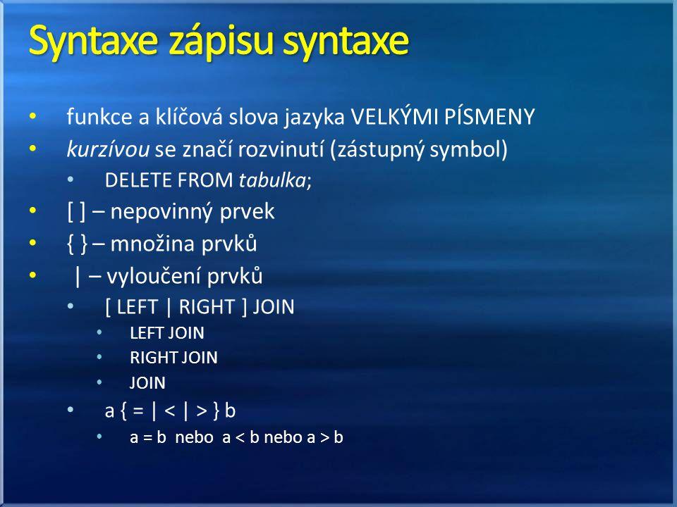 Syntaxe zápisu syntaxe