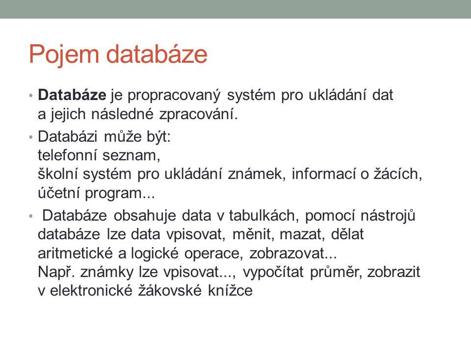 Pojem databáze Databáze je propracovaný systém pro ukládání dat a jejich následné zpracování.