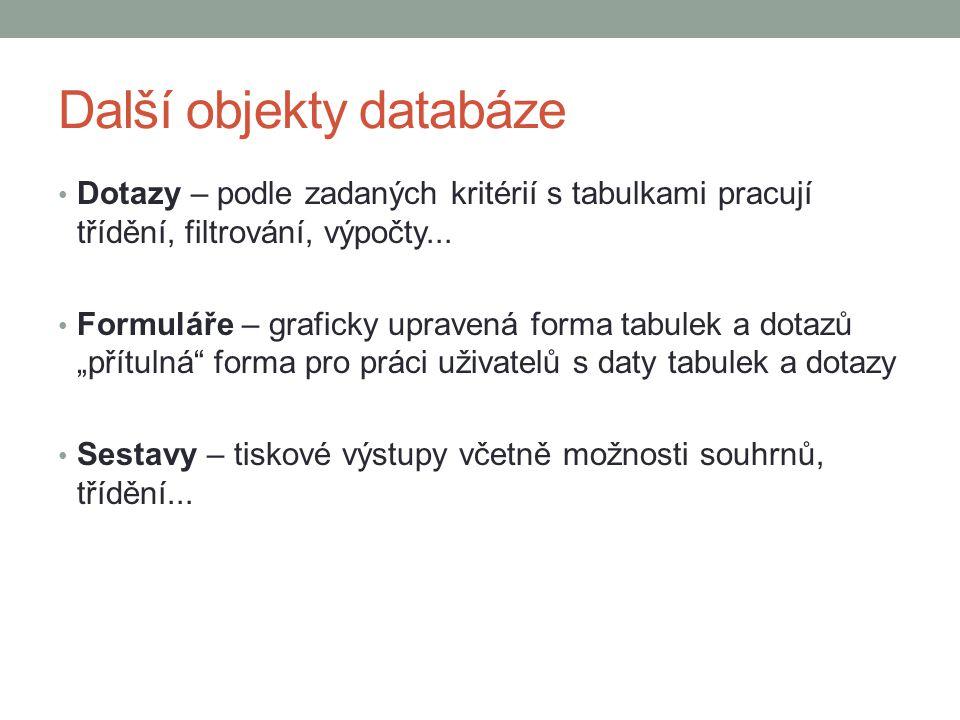Další objekty databáze