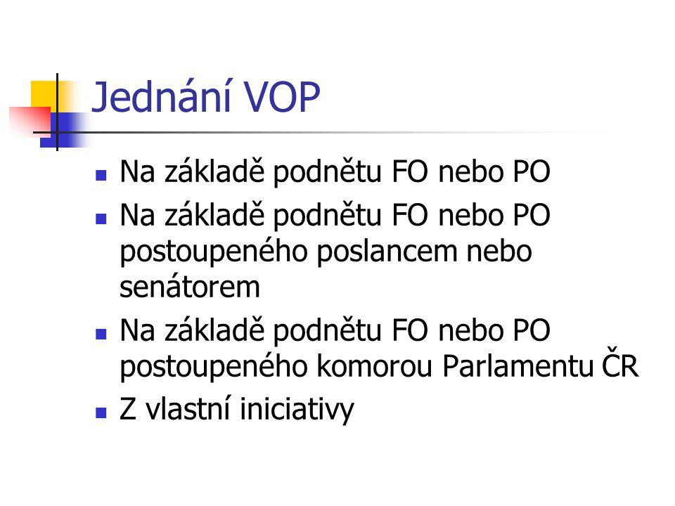 Jednání VOP Na základě podnětu FO nebo PO