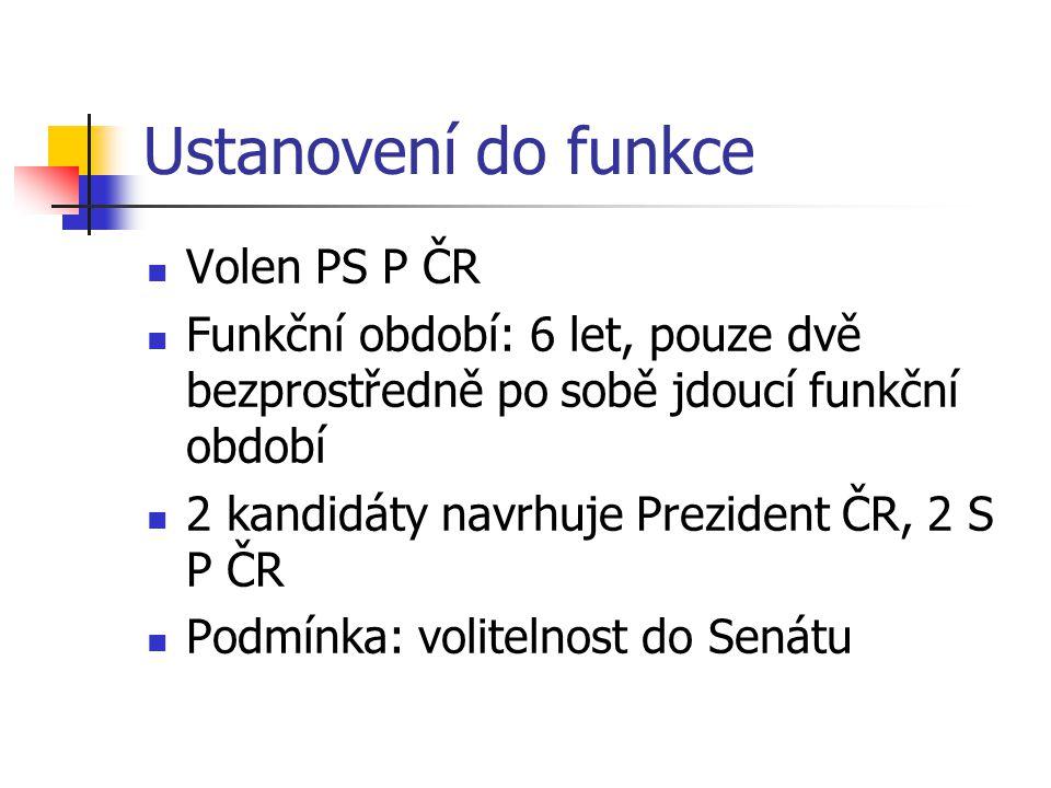 Ustanovení do funkce Volen PS P ČR
