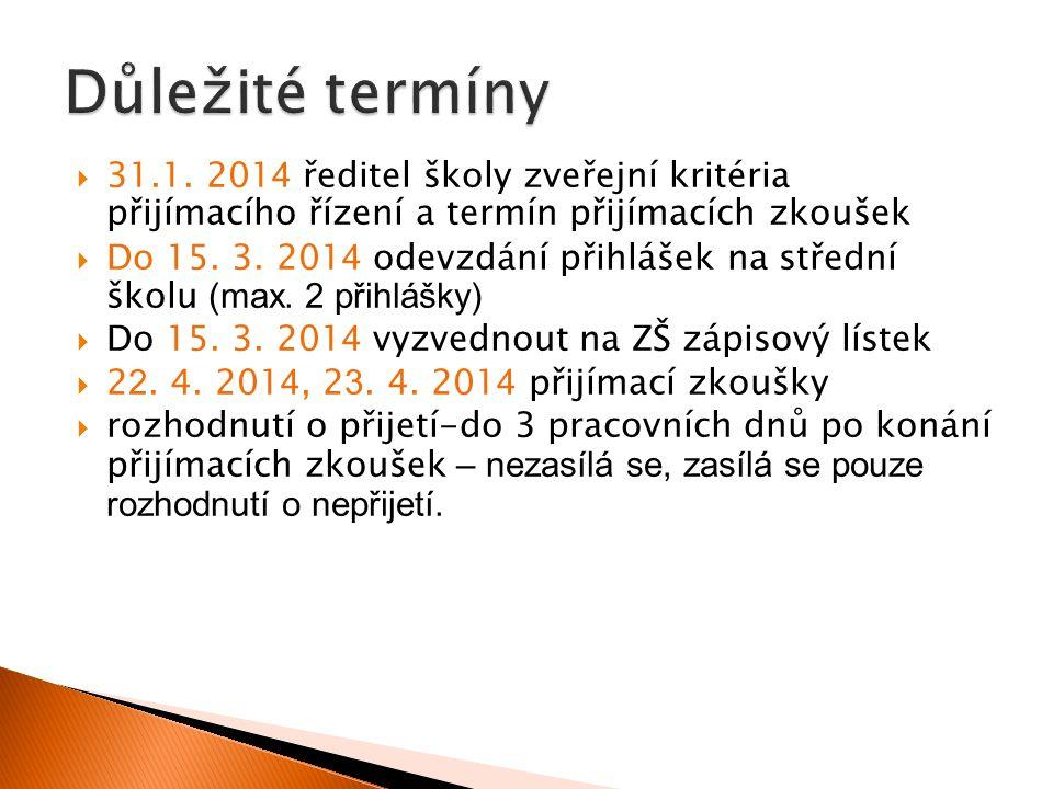 Důležité termíny 31.1. 2014 ředitel školy zveřejní kritéria přijímacího řízení a termín přijímacích zkoušek.