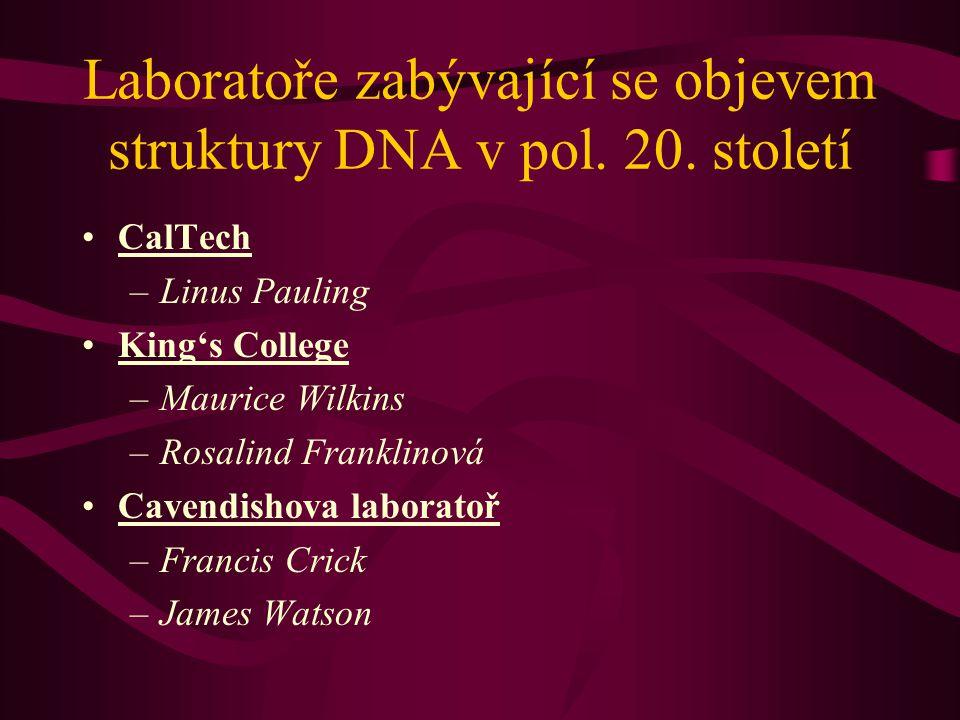 Laboratoře zabývající se objevem struktury DNA v pol. 20. století