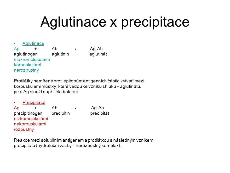 Aglutinace x precipitace
