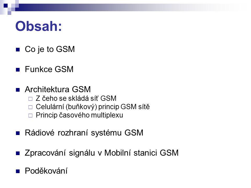 Obsah: Co je to GSM Funkce GSM Architektura GSM