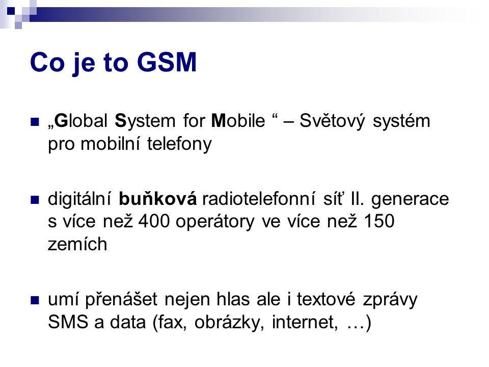 """Co je to GSM """"Global System for Mobile – Světový systém pro mobilní telefony."""