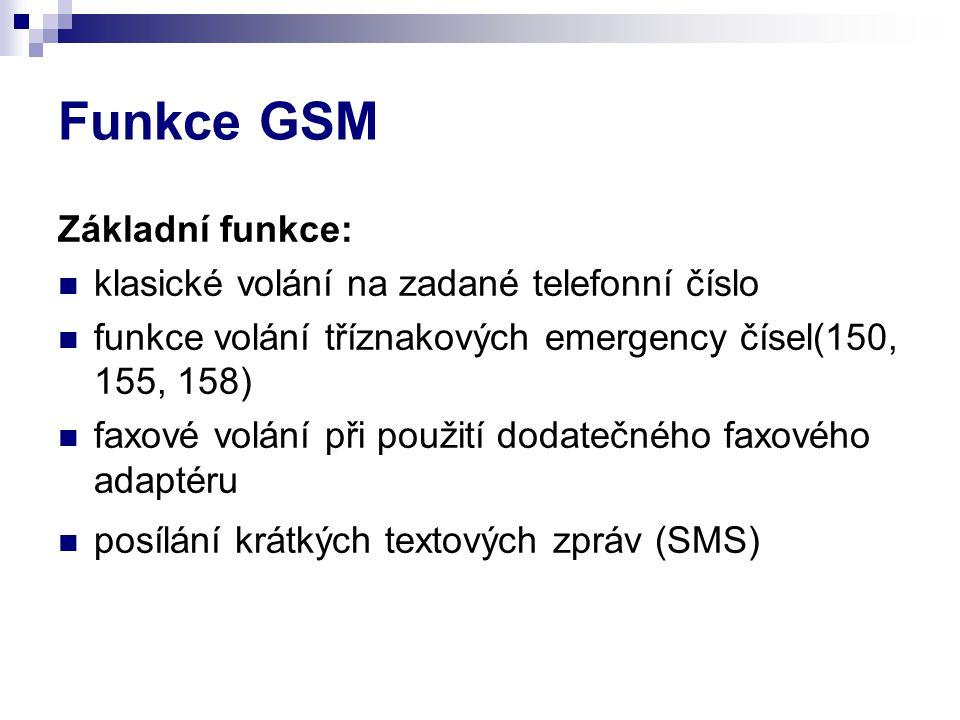 Funkce GSM Základní funkce: klasické volání na zadané telefonní číslo