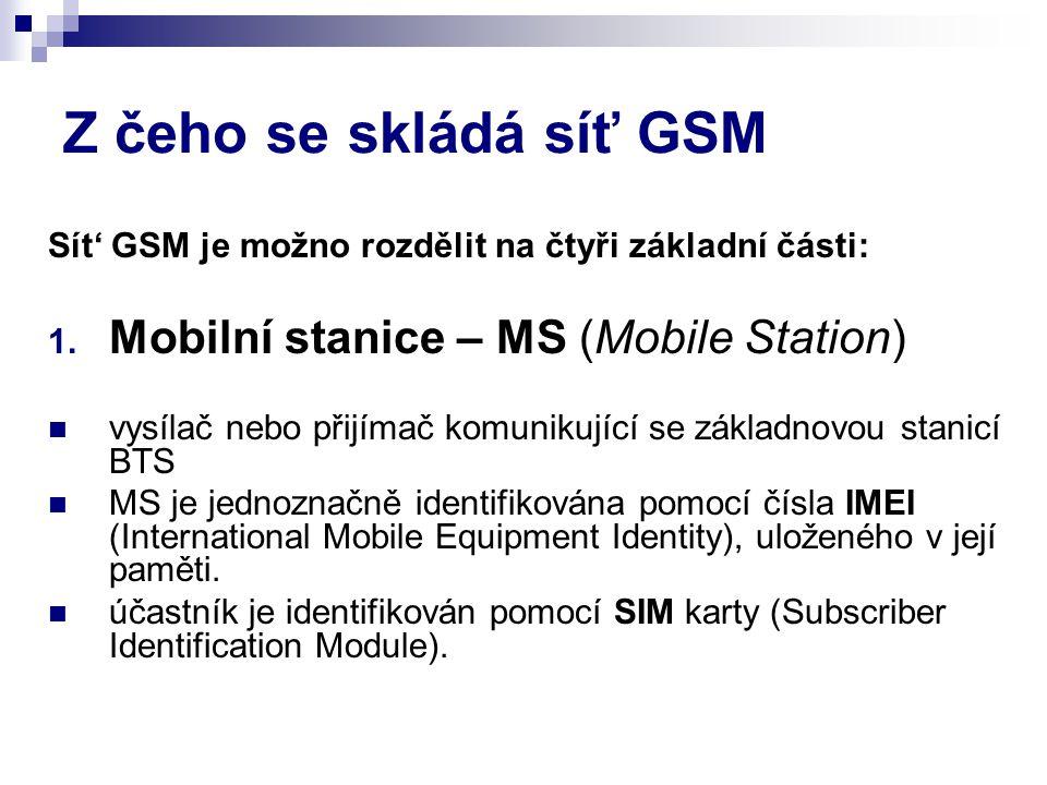 Z čeho se skládá síť GSM Mobilní stanice – MS (Mobile Station)