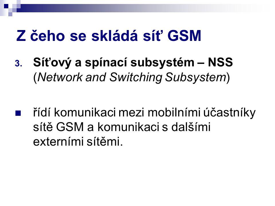 Z čeho se skládá síť GSM Síťový a spínací subsystém – NSS (Network and Switching Subsystem)