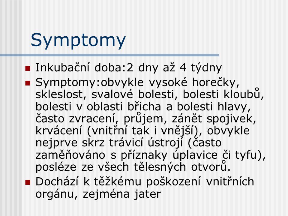 Symptomy Inkubační doba:2 dny až 4 týdny