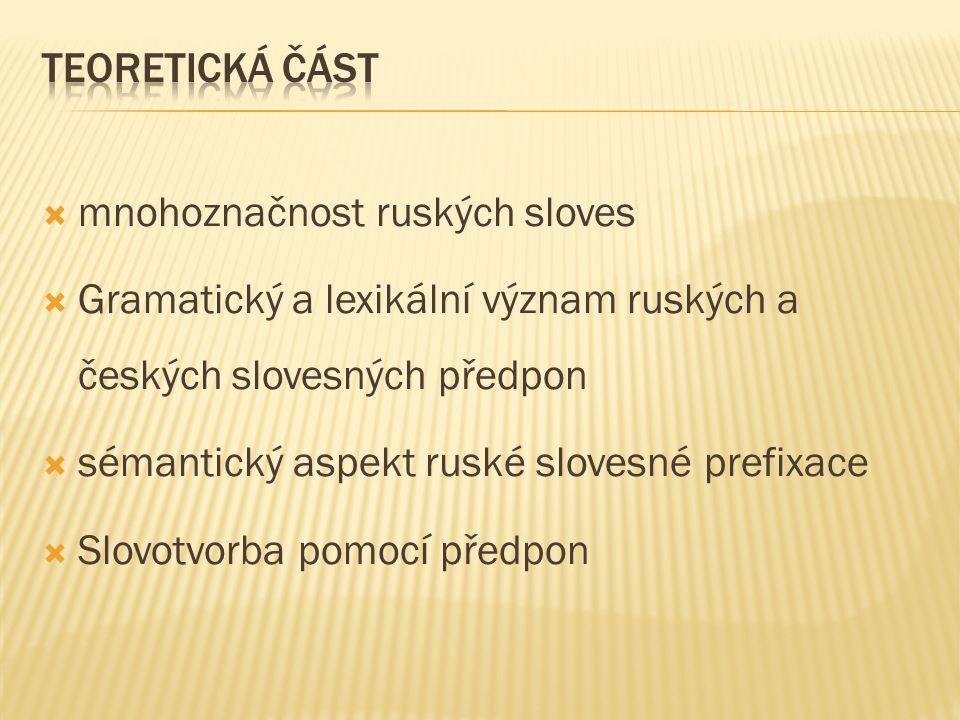 Teoretická část mnohoznačnost ruských sloves. Gramatický a lexikální význam ruských a českých slovesných předpon.