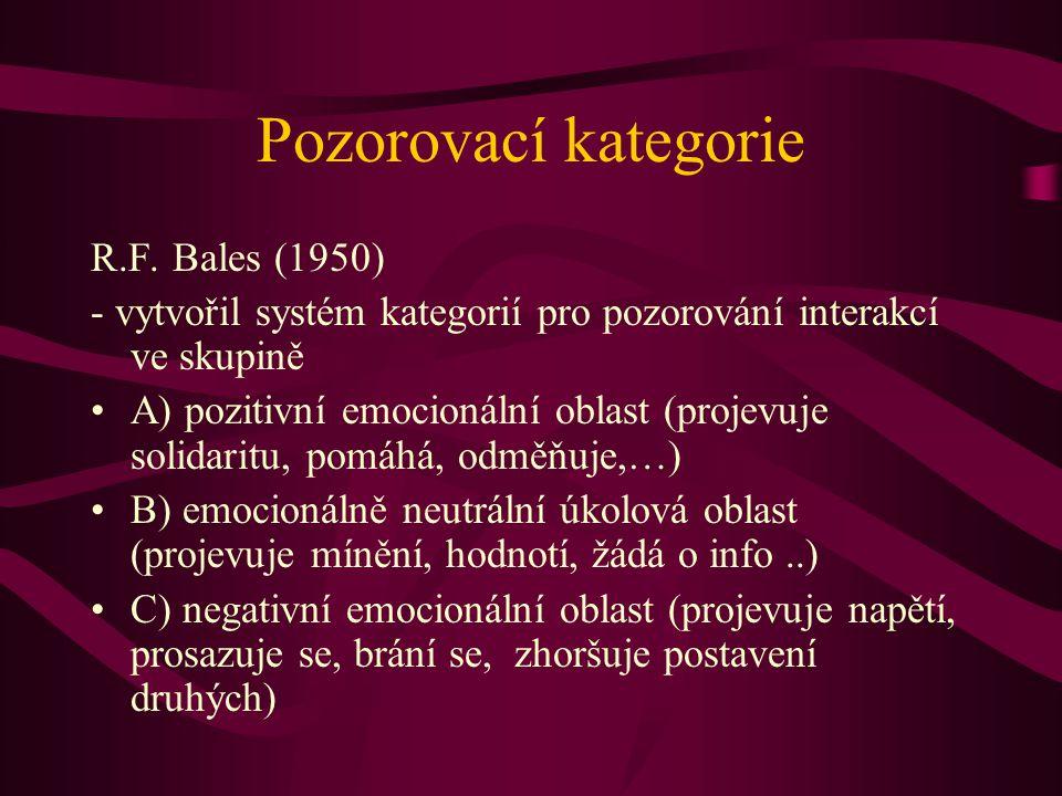 Pozorovací kategorie R.F. Bales (1950)
