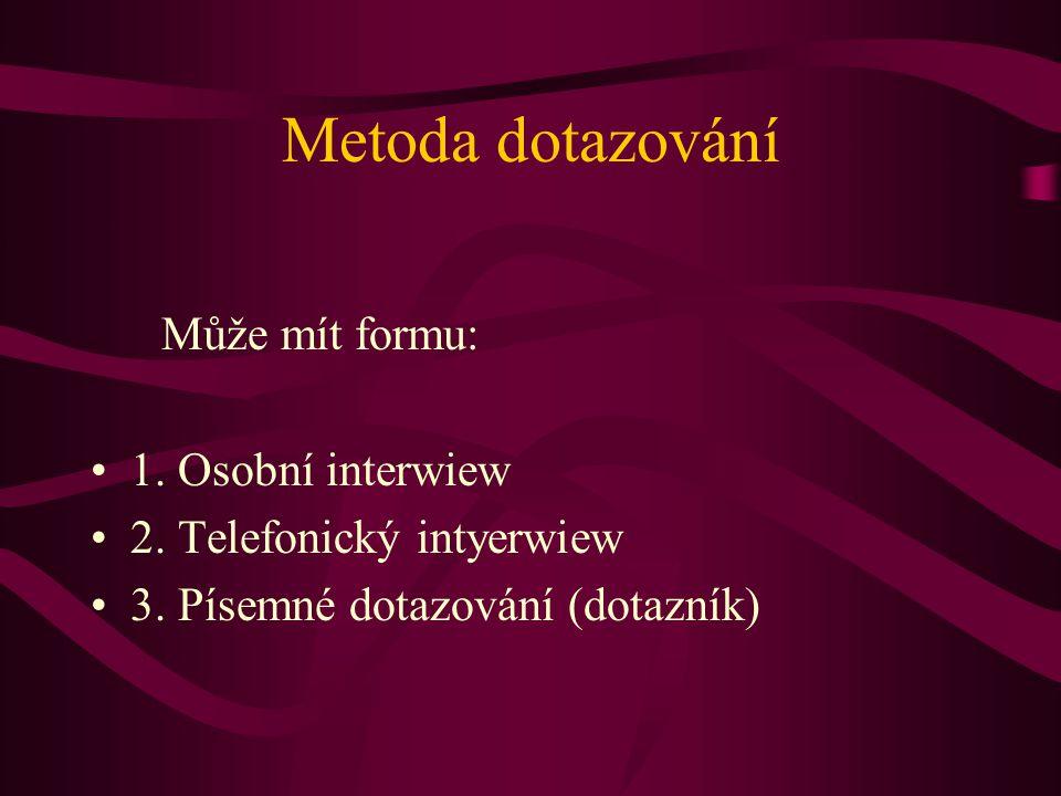Metoda dotazování Může mít formu: 1. Osobní interwiew