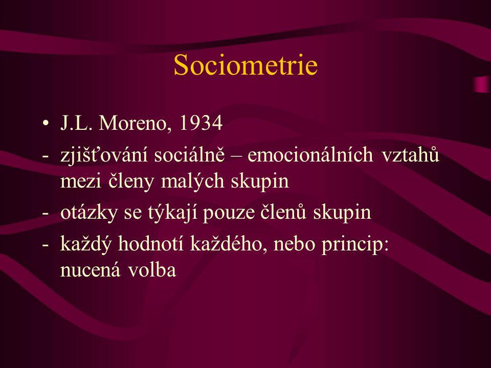 Sociometrie J.L. Moreno, 1934. zjišťování sociálně – emocionálních vztahů mezi členy malých skupin.