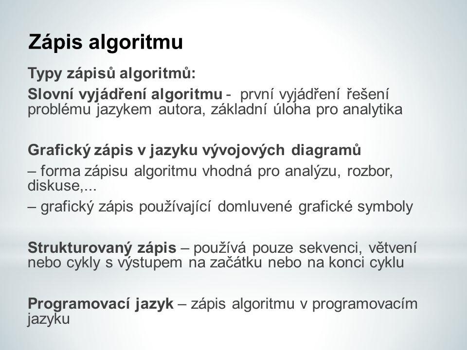 Zápis algoritmu Typy zápisů algoritmů: