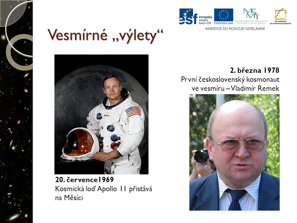 """Vesmírné """"výlety 2. března 1978 První československý kosmonaut"""