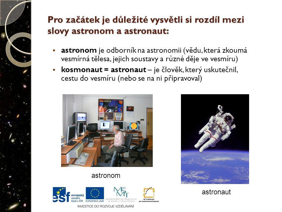 Pro začátek je důležité vysvětli si rozdíl mezi slovy astronom a astronaut: