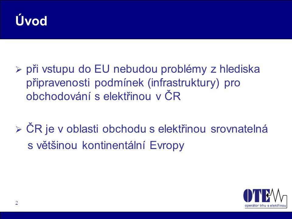 Úvod při vstupu do EU nebudou problémy z hlediska připravenosti podmínek (infrastruktury) pro obchodování s elektřinou v ČR.
