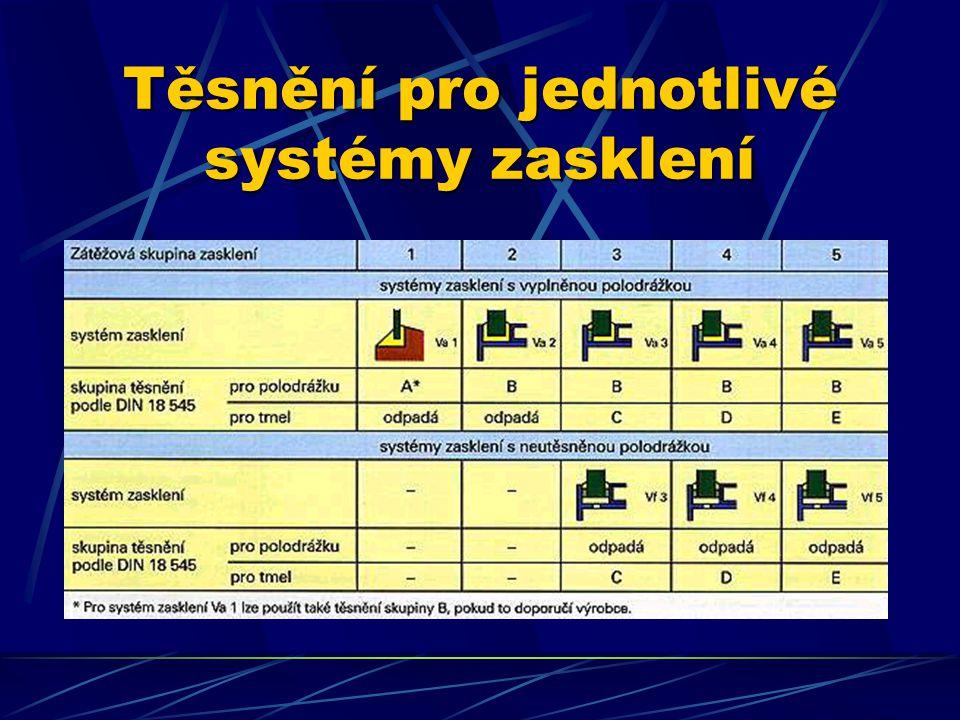 Těsnění pro jednotlivé systémy zasklení