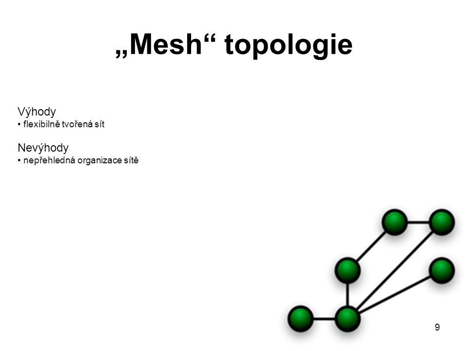 """""""Mesh topologie Výhody Nevýhody flexibilně tvořená sít"""