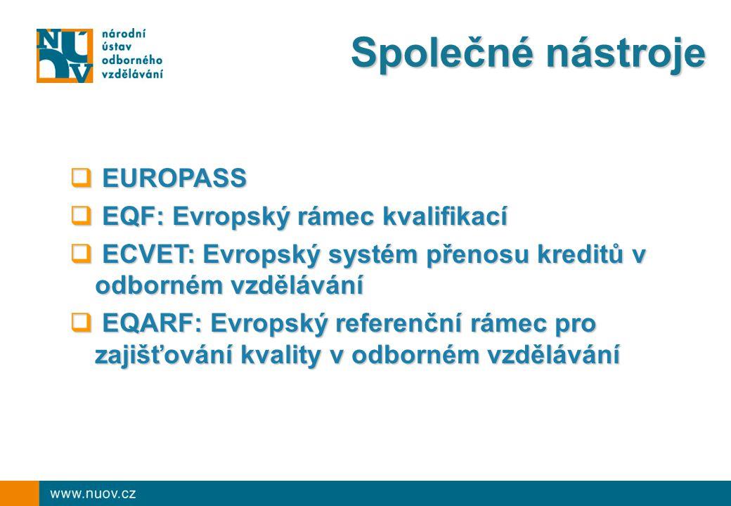 Společné nástroje EUROPASS EQF: Evropský rámec kvalifikací