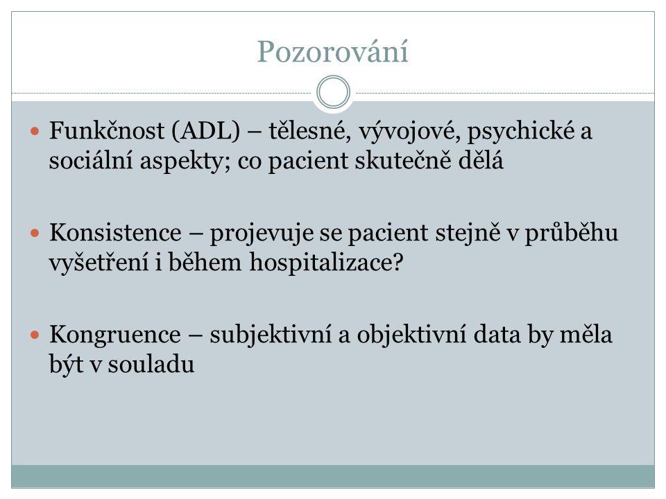Pozorování Funkčnost (ADL) – tělesné, vývojové, psychické a sociální aspekty; co pacient skutečně dělá.