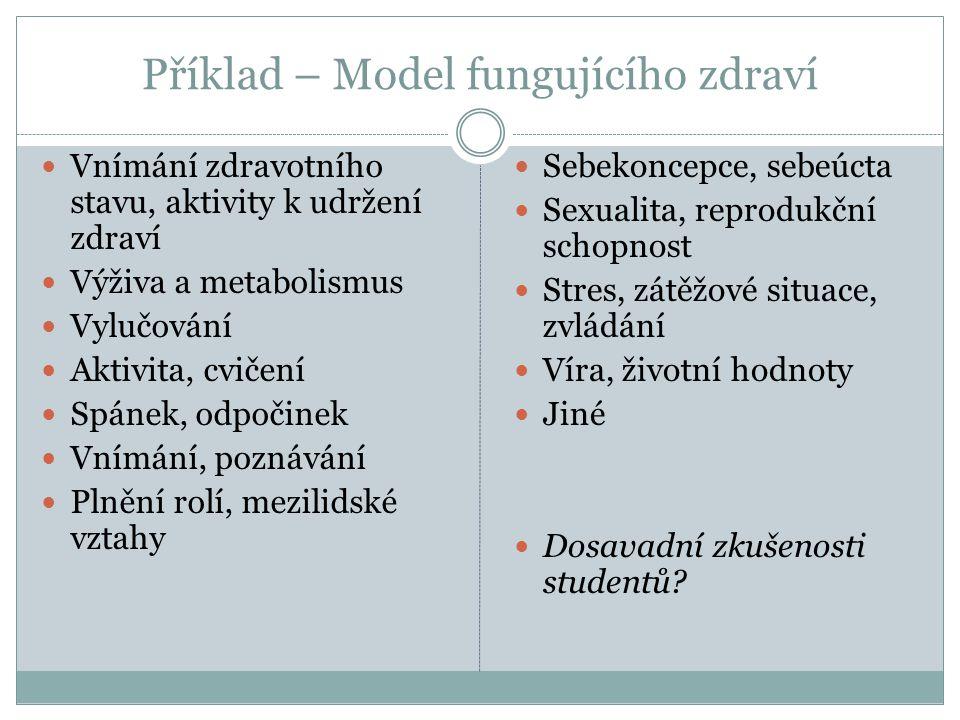 Příklad – Model fungujícího zdraví