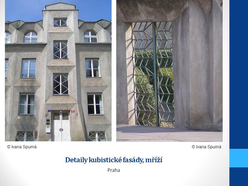 Detaily kubistické fasády, mříží