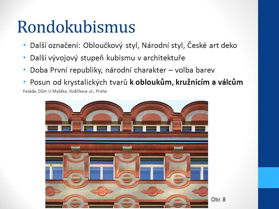 Rondokubismus Další označení: Obloučkový styl, Národní styl, České art deko. Další vývojový stupeň kubismu v architektuře.