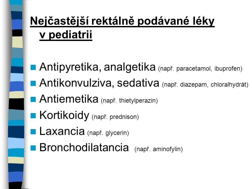 Nejčastější rektálně podávané léky v pediatrii