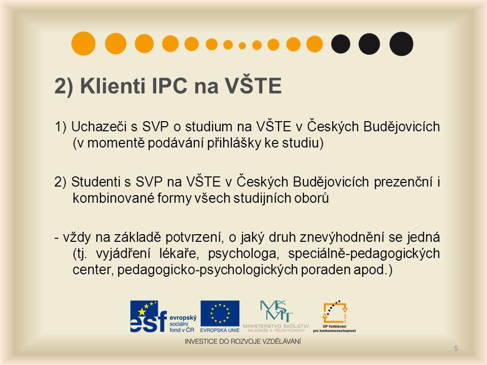 2) Klienti IPC na VŠTE 1) Uchazeči s SVP o studium na VŠTE v Českých Budějovicích (v momentě podávání přihlášky ke studiu)