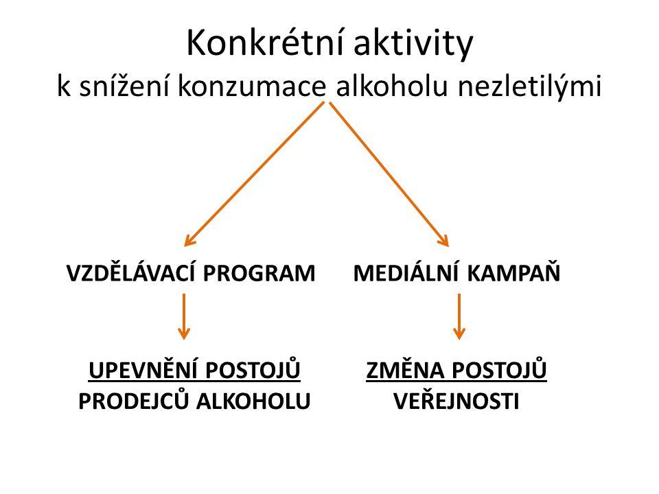 Konkrétní aktivity k snížení konzumace alkoholu nezletilými