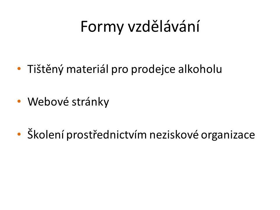 Formy vzdělávání Tištěný materiál pro prodejce alkoholu Webové stránky