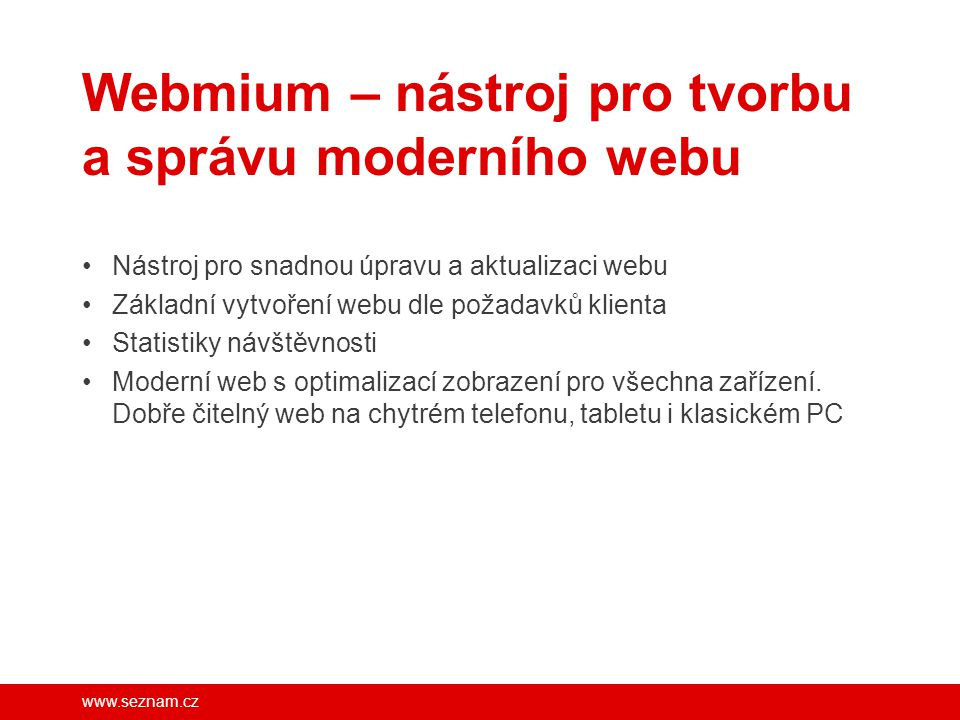 Webmium – nástroj pro tvorbu a správu moderního webu