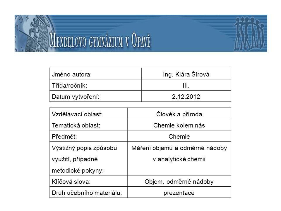 Měření objemu a odměrné nádoby v analytické chemii
