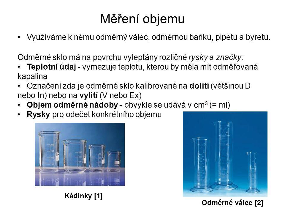 Měření objemu Využíváme k němu odměrný válec, odměrnou baňku, pipetu a byretu. Odměrné sklo má na povrchu vyleptány rozličné rysky a značky: