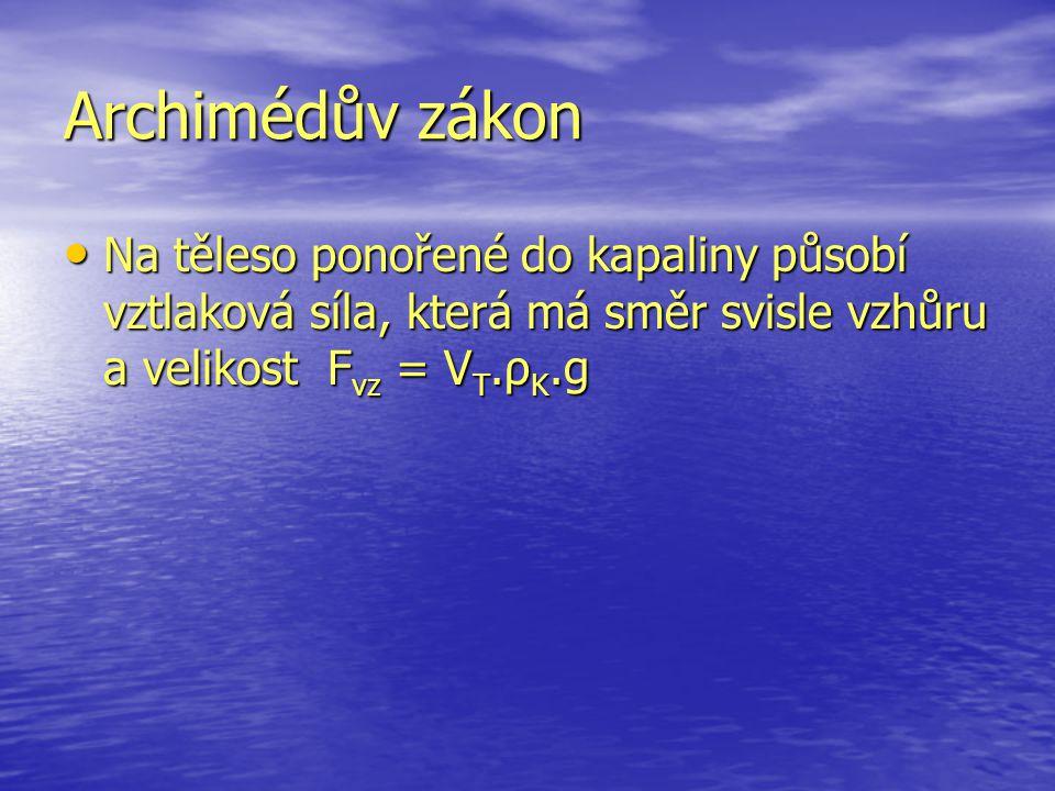 Archimédův zákon Na těleso ponořené do kapaliny působí vztlaková síla, která má směr svisle vzhůru a velikost Fvz = VT.ρK.g.